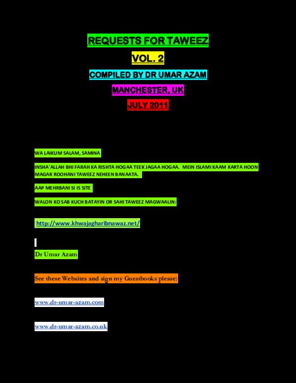PDF) REQUESTS FOR E-TAWEEZ - VOL  2 | DR UMAR E AZAM