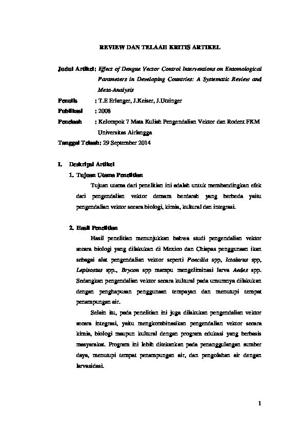 Review Dan Telaah Kritis Artikel Judul Artikel Effect Of Dengue Vector Control Interventions On Entomological Parameters In Developing Countries A Systematic Review And Meta Analysis Penelaah Kelompok 7 Mata Kuliah Pengendalian Vektor
