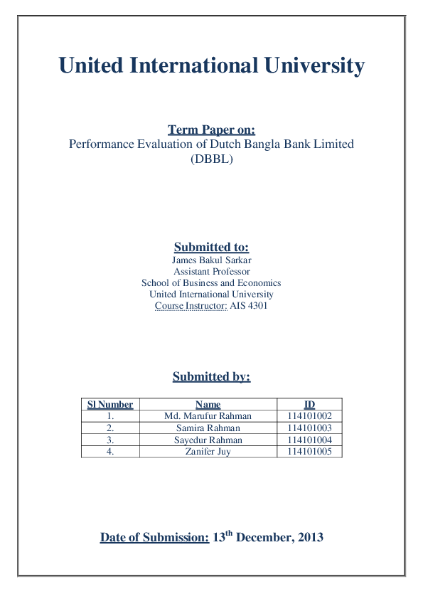 term paper on dbbl