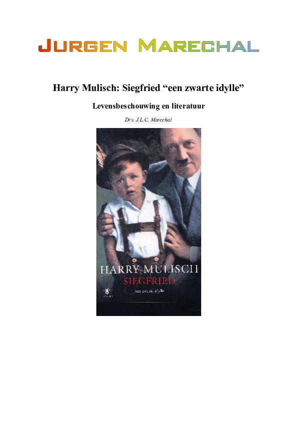 Doc Literatuuranalyse Siegfried Van Harry Mulisch