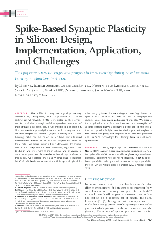 PDF) Spike-Based Synaptic Plasticity in Silicon: Design