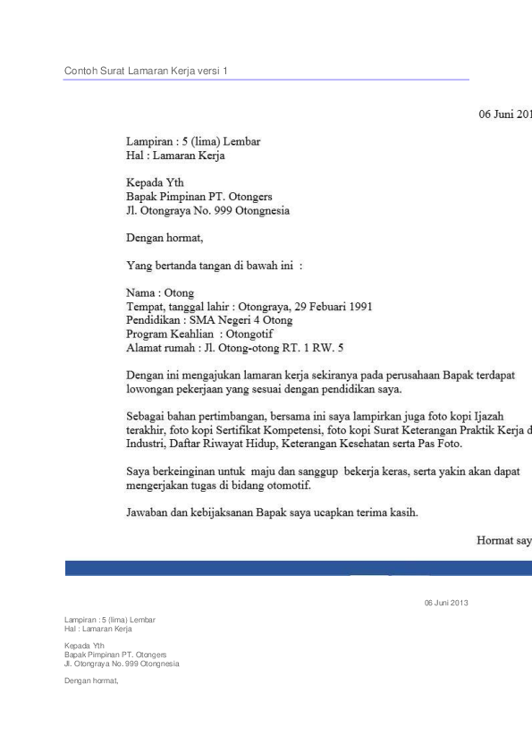 Doc Contoh Surat Lamaran Kerja Versi 1 Ricky Saputra