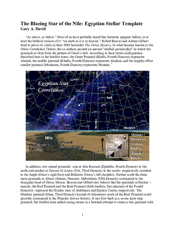 PDF) The Blazing Star of the Nile: Egyptian Stellar Template