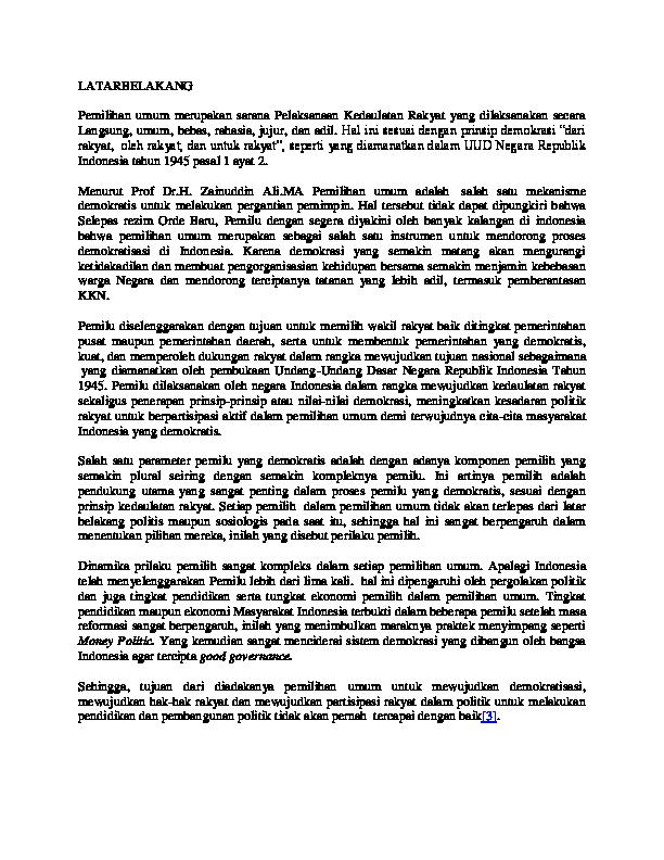 Doc Latarbelakang Pemilihan Umum Merupakan Sarana Pelaksanaan Kedaulatan Rakyat Yang Dilaksanakan Secara Langsung Sulton Amin Academia Edu