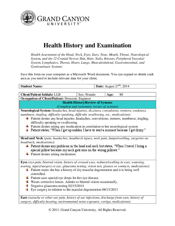DOC) Health History and Examination Health Assessment of the
