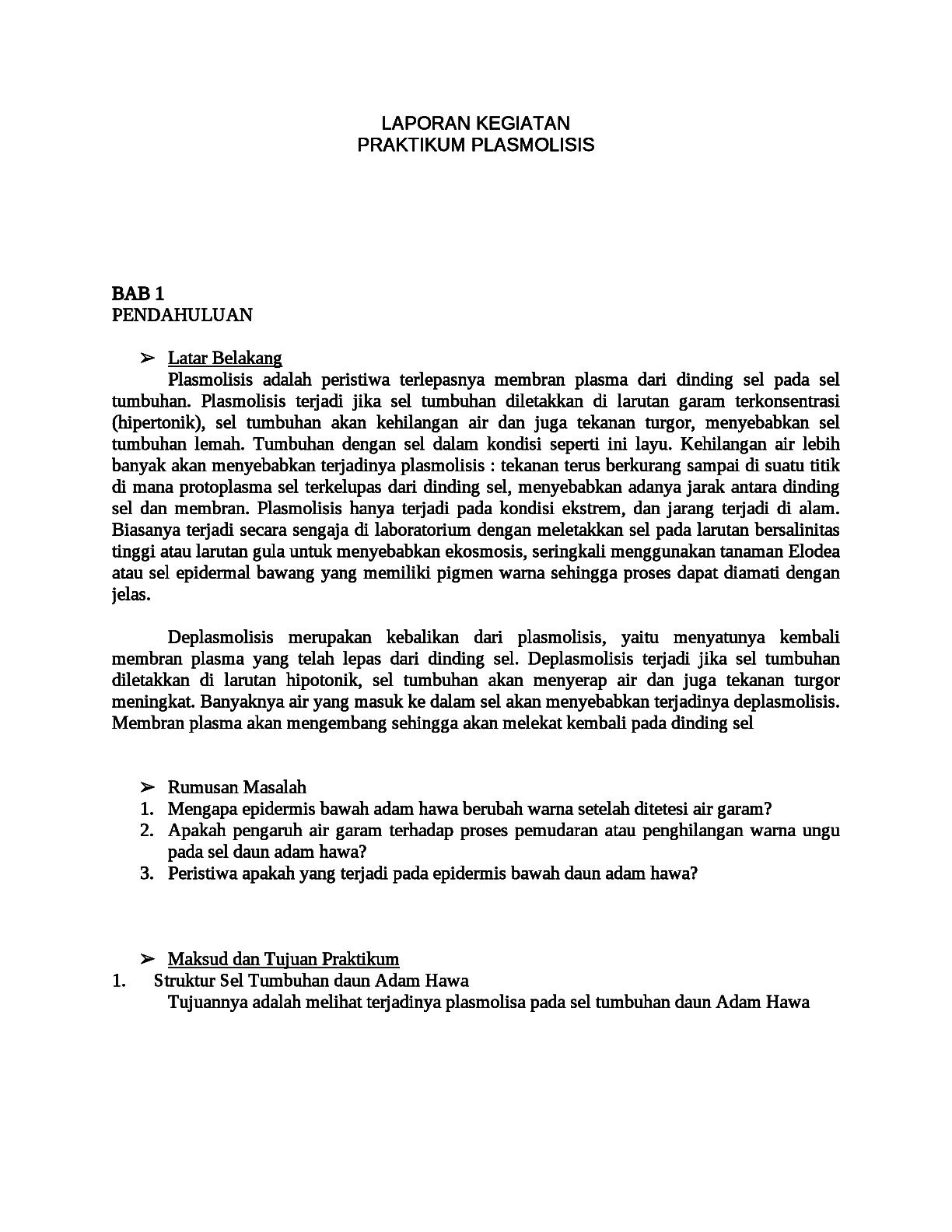 Contoh Laporan Praktikum Biologi Tentang Sel Tumbuhan Kumpulan Contoh Laporan
