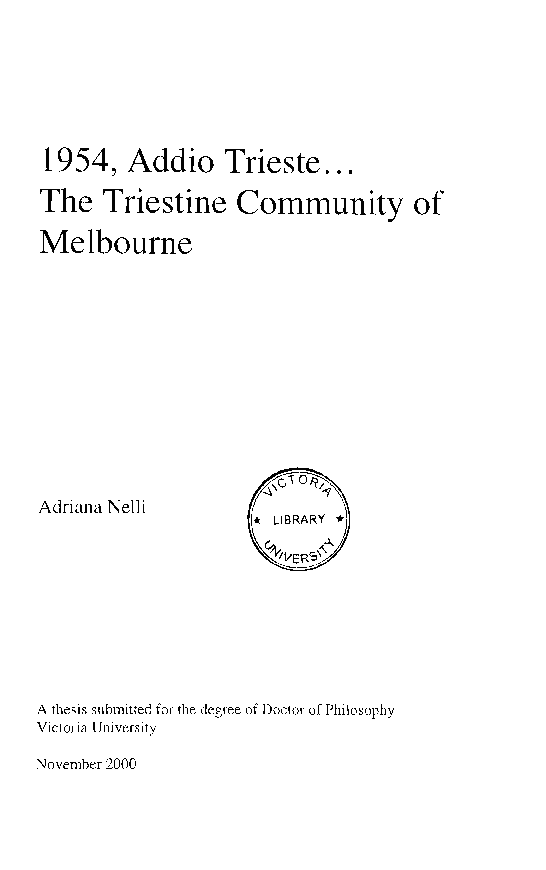 PDF) 1954, Addio Trieste    The Triestine Community of