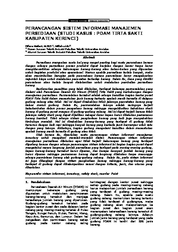 Pdf Jurnal Ilmiah Teknik Industri Perancangan Sistem Informasi Manajemen Persediaan Studi Kasus Pdam Tirta Sakti Kabupaten Kerinci Desi Permatasari Academia Edu