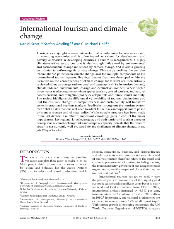 PDF) International Tourism and Climate Change  | Daniel
