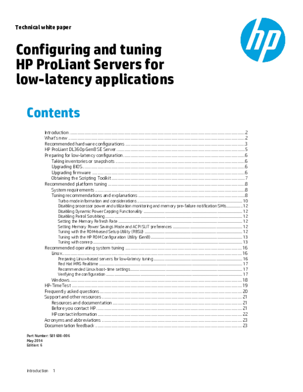 PDF) Technical white paper Configuring and tuning HP