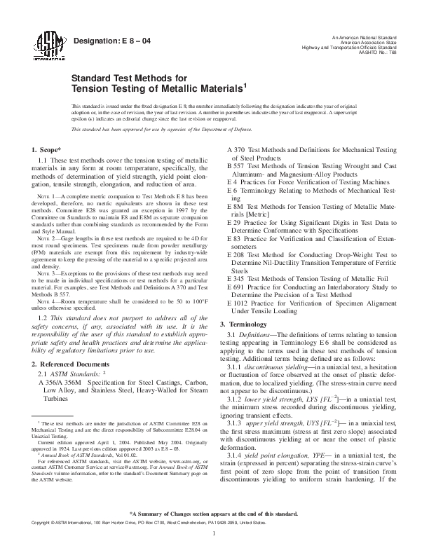 PDF) ASTM E8-04 - Tension Testing of Metallic Materials | Gabriel
