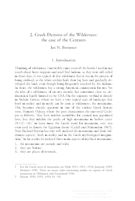 PDF) Greek Demons of the Wilderness: the case of the