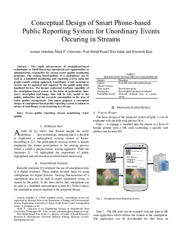 Pdf Conceptual Design Of Smart Phone Based Public Reporting System For Unordinary Events Occuring In Streams W M F Wan Ishak Academia Edu