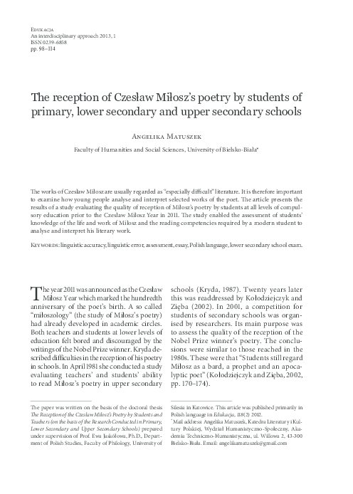 Pdf The Reception Of Czesław Miłoszs Poetry By Students Of