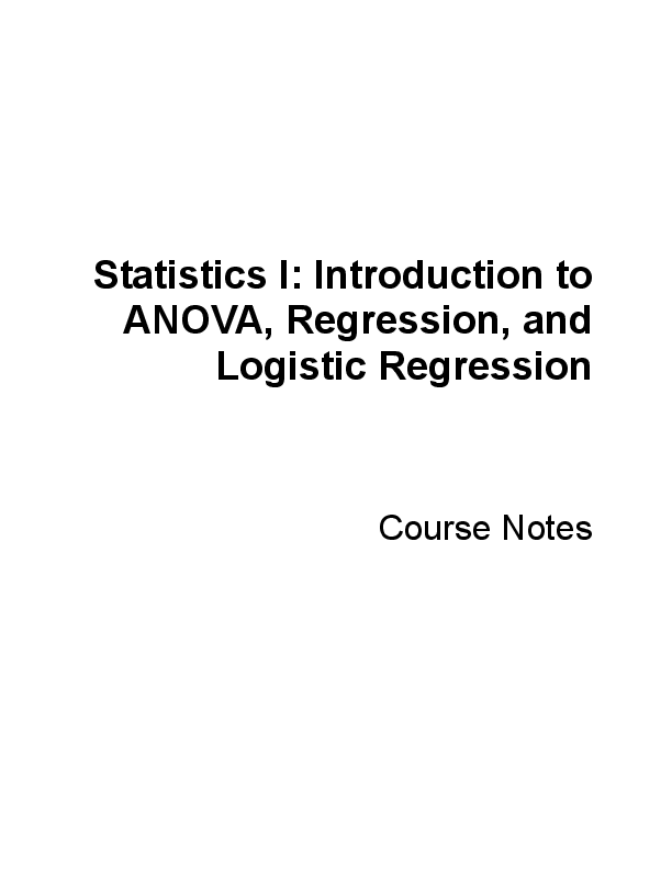 PDF) +1 Introduction to ANOVA, Regression, and Logistic Regression