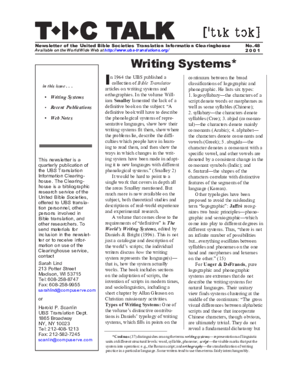 PDF) Writing Systems   Sarah Lind - Academia edu