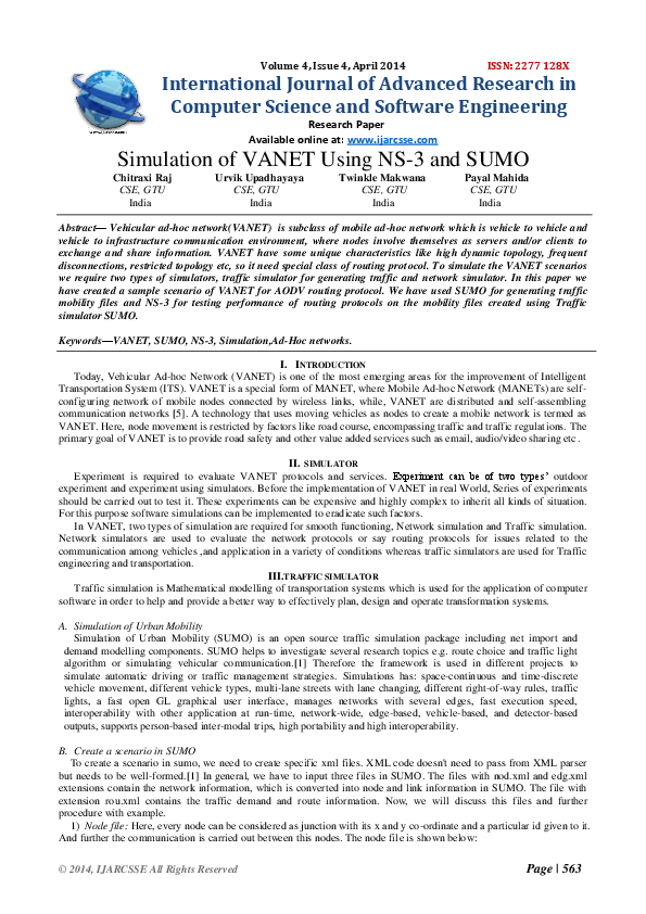 PDF) 2014, IJARCSSE All Rights Reserved Simulation of VANET