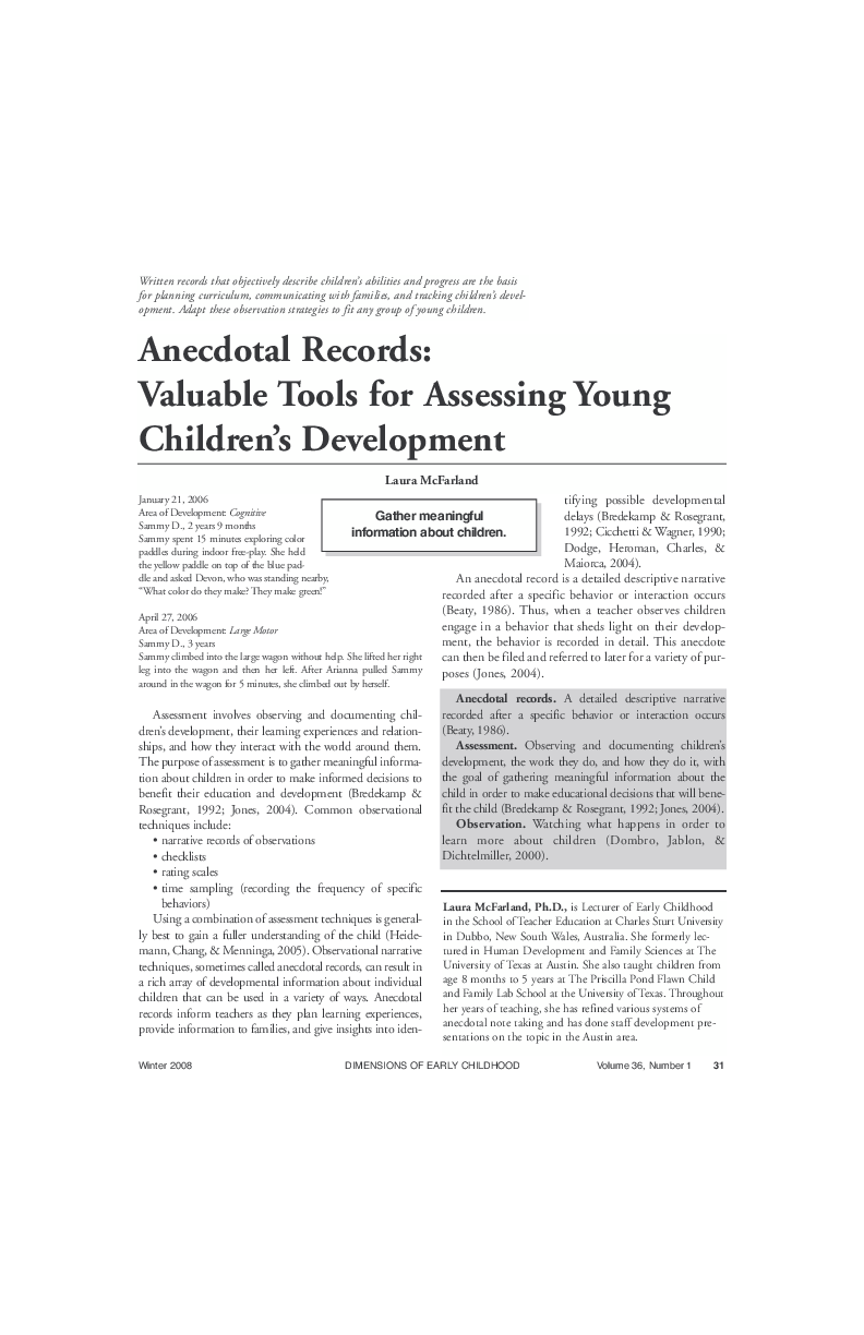 PDF) Anecdotal records: Valuable tools for assessing young