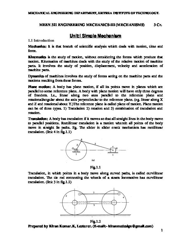 PDF) ENGINEERING MECHANICS-III LECTURE NOTES OF MEEN-321