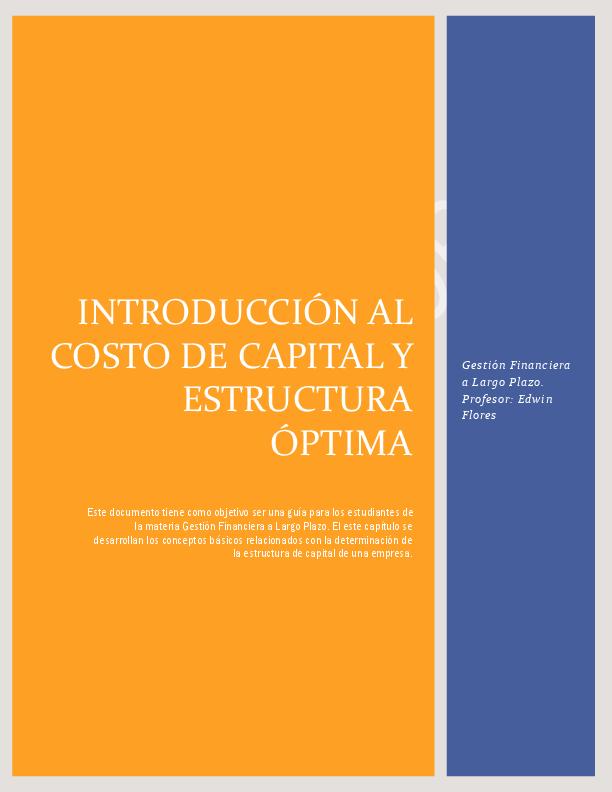 Pdf Introducción Al Costo De Capital Y Estructura óptima