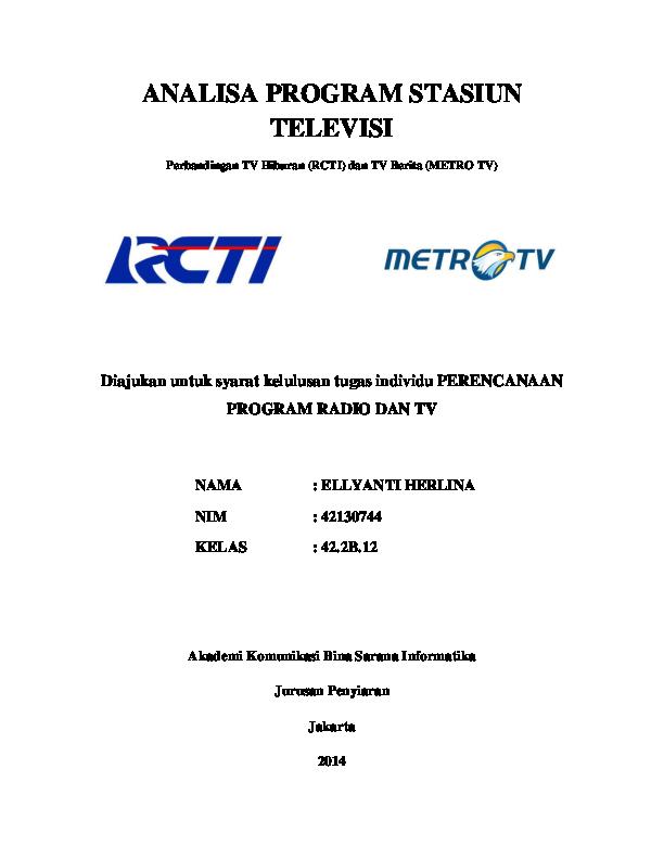 Analisa Program Stasiun Televisi Perbandingan Tv Hiburan Rcti Dan
