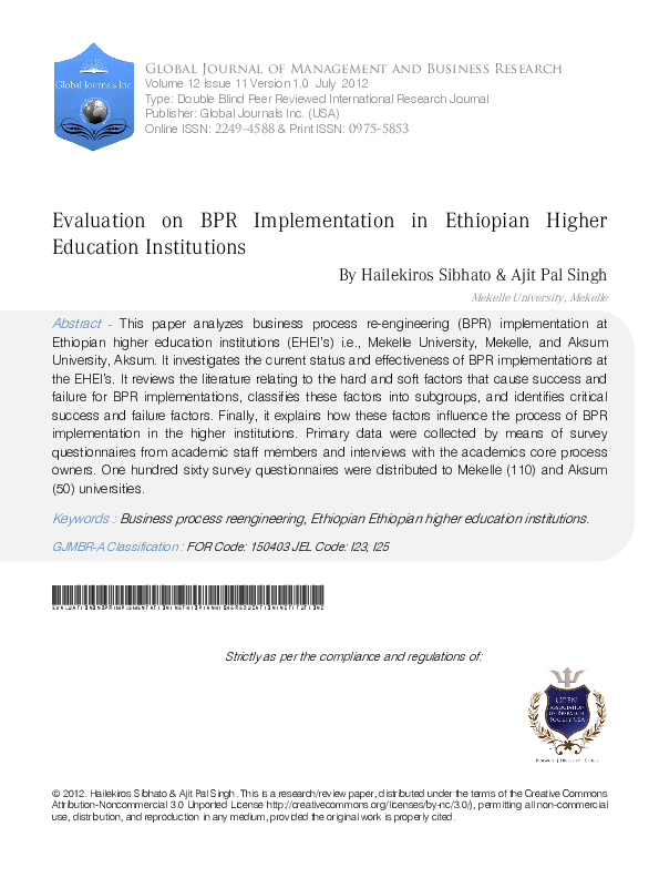 PDF) Evaluation on BPR Implementation in Ethiopian Higher Education