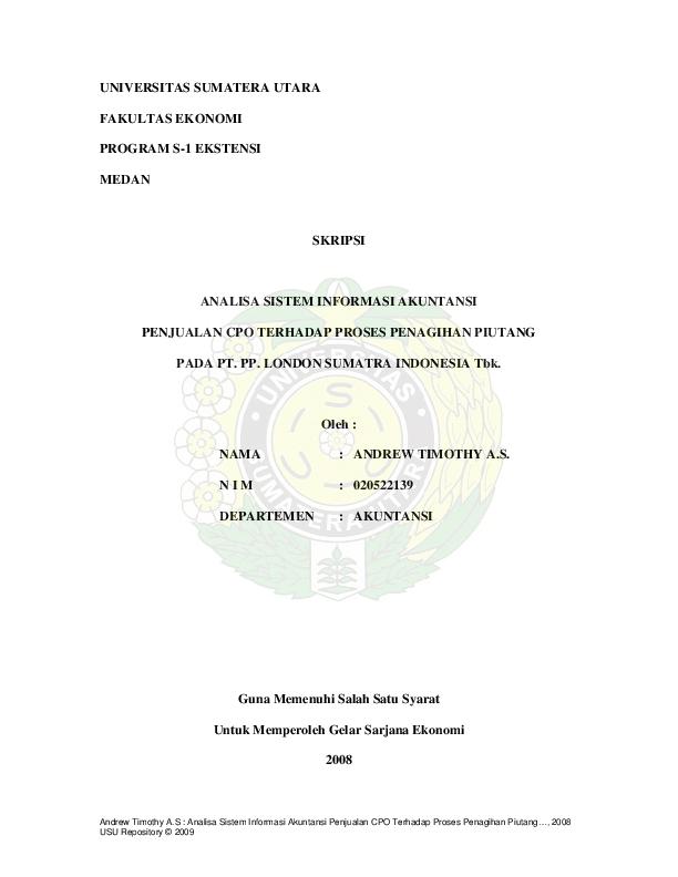 Pdf Universitas Sumatera Utara Fakultas Ekonomi Program S 1 Ekstensi Medan Skripsi Analisa Sistem Informasi Akuntansi Penjualan Cpo Terhadap Proses Penagihan Piutang Sri Kanah Academia Edu