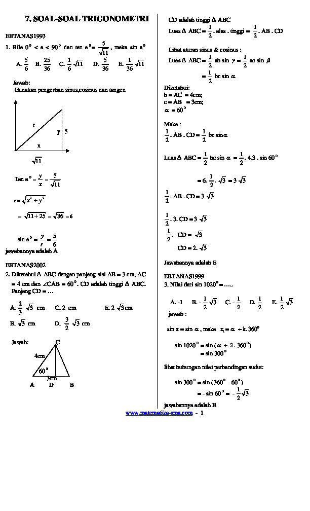 Contoh Soal Trigonometri Kelas 10 Dan Pembahasannya Ilmu Pengetahuan 8