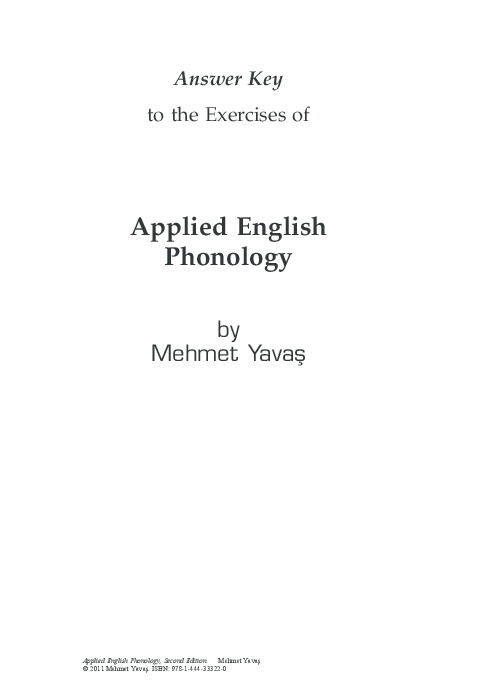 PDF) Answer Key to the Exercises of Applied English