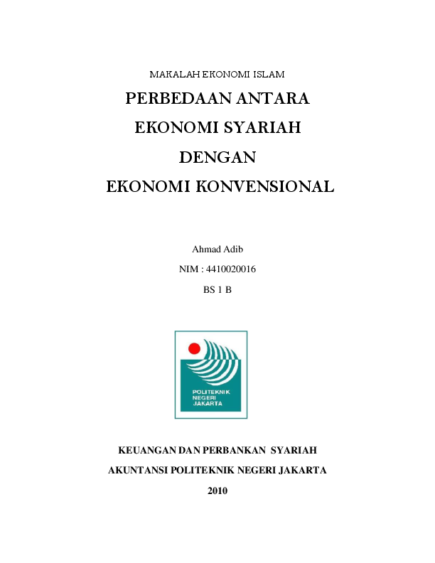 Doc Perbedaan Ekonomi Islam Dan Ekonomi Konvensional Ahmad Jangkrik Academia Edu