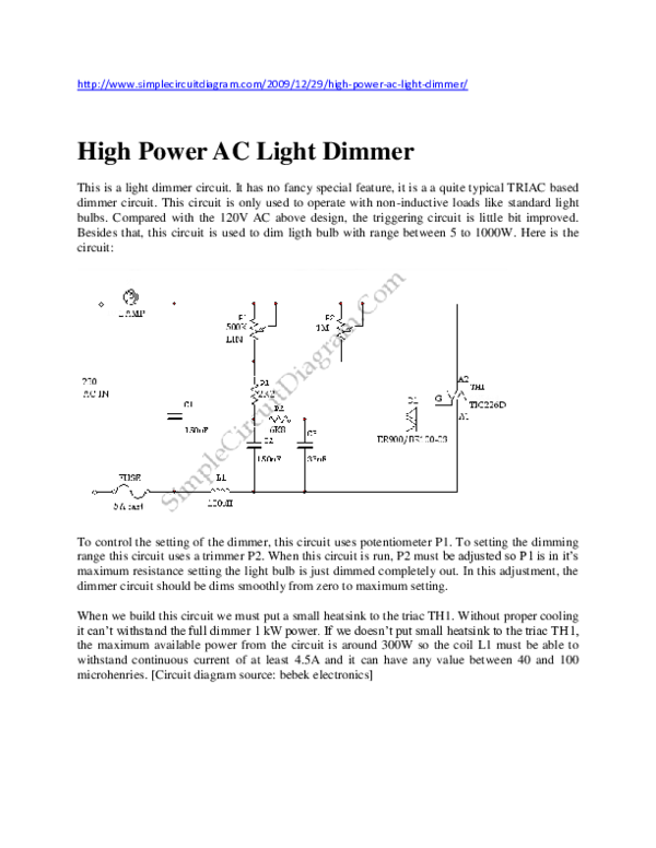 doc) dimmer circuit vijay kumar academia eduDisco Light Circuit Using Thyristor Or Silicon Controlled Rectifier #19