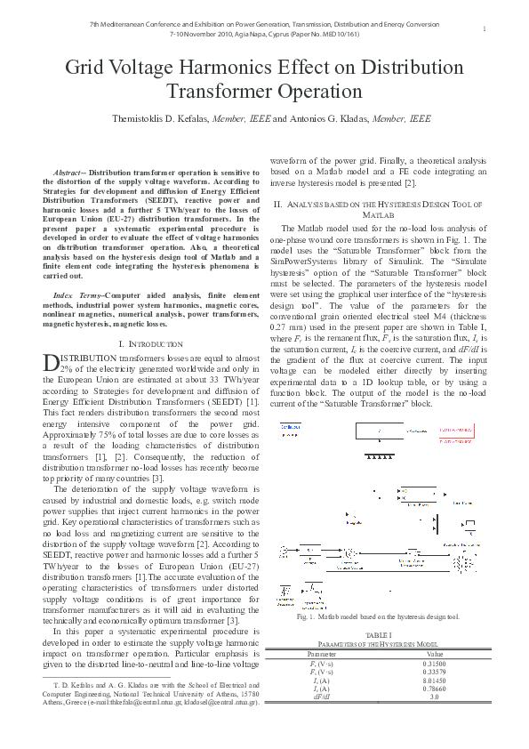 PDF) Grid voltage harmonics effect on distribution
