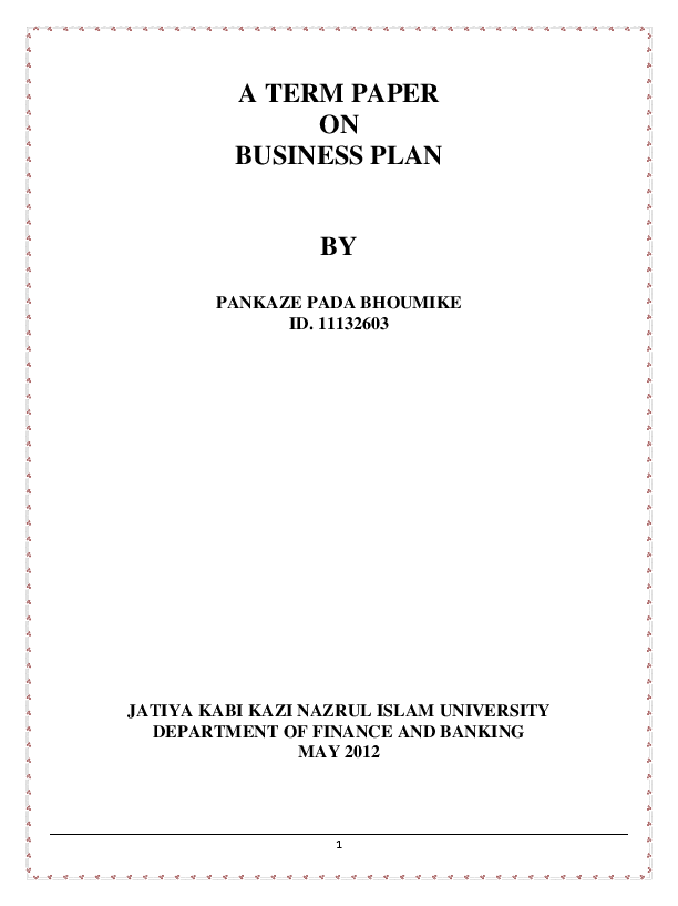term paper on business plan