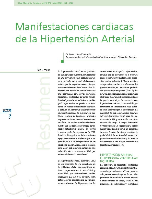 (PDF) Manifestaciones cardiacas de la Hipertensión..