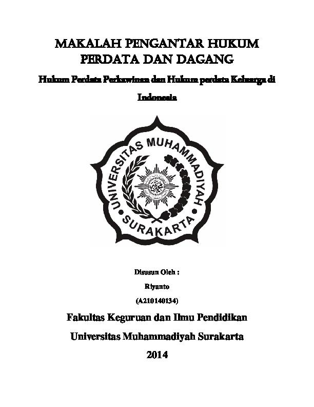 Pdf Makalah Pengantar Hukum Perdata Dan Dagang Riyan Riyanto Academia Edu