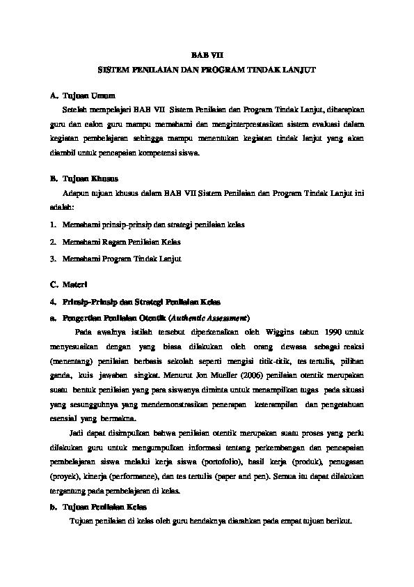 Bab Vii Sistem Penilaian Dan Program Tindak Lanjut Tujuan Umum Setelah Mempelajari Bab Vii Sistem Penilaian Dan Program Tindak Lanjut Monika Fahmi Academia Edu