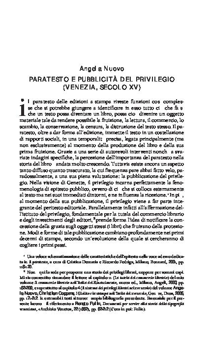 fe83e50ead50 PDF) Paratesto e pubblicità del privilegio (Venezia
