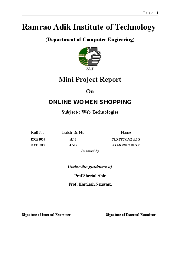 DOC) Mini Project Report On ONLINE SHOPPING | Abhishek Barman
