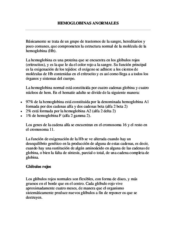 Doc Hemoglobinas Anormales Alexis Alexander Melo Garcia