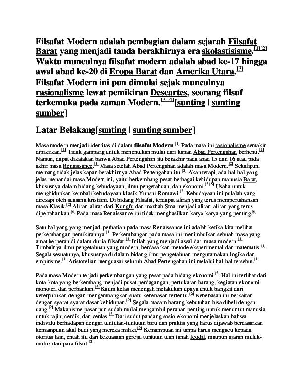 Doc Filsafat Modern Risqi Nur Indriani Academia Edu
