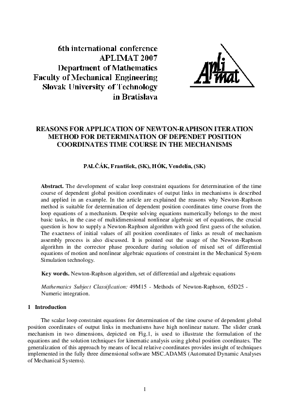 PDF) REASONS FOR APPLICATION OF NEWTON-RAPHSON ITERATION