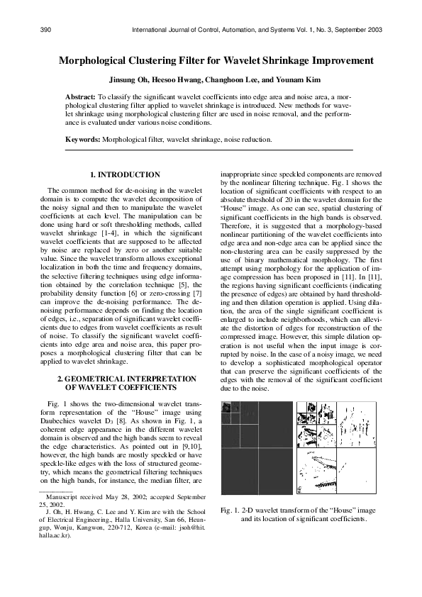PDF) Morphological Clustering Filter for Wavelet Shrinkage