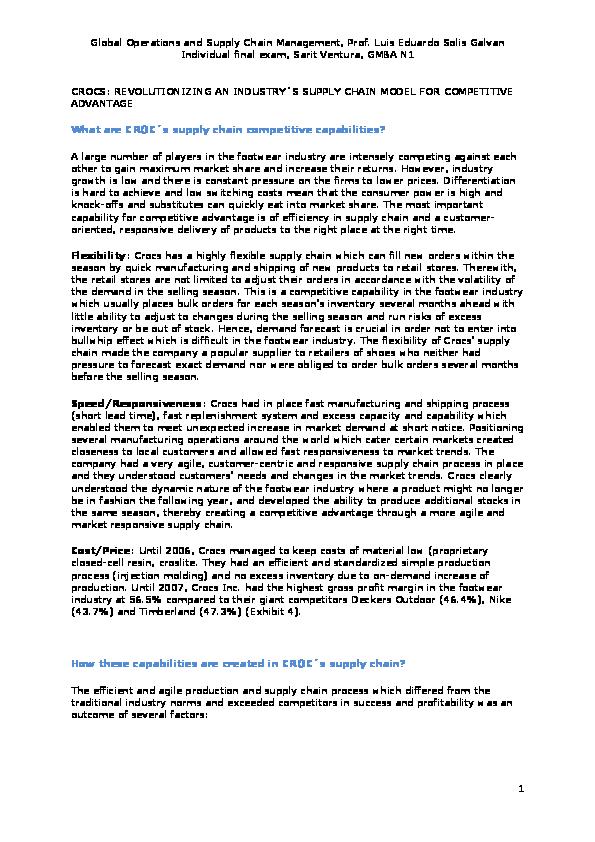 PDF) Supply Chain Management of Crocs   Sarit Ventura - Academia edu