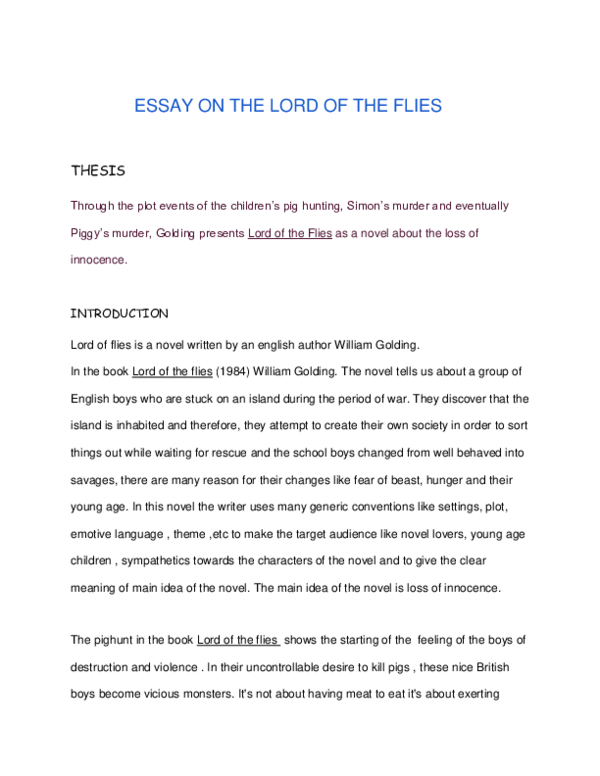 Lord Of The Flies Essay