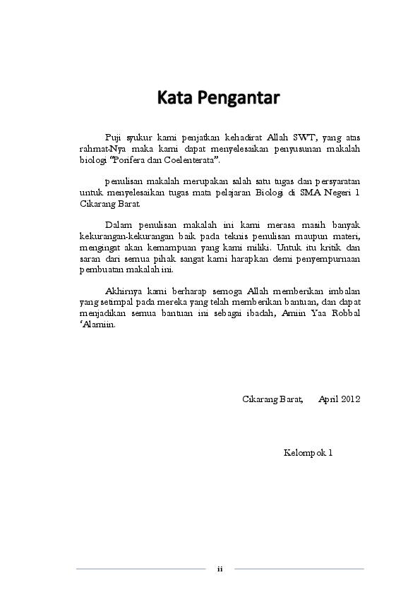 Doc Kata Pengantar Daftar Isi Makalah Biologi Porifera Dan Coelenterata Wildan Fadly Academia Edu