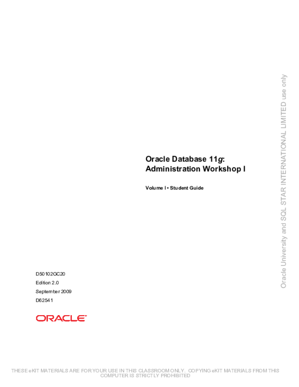 Oracle 11g Administration Pdf