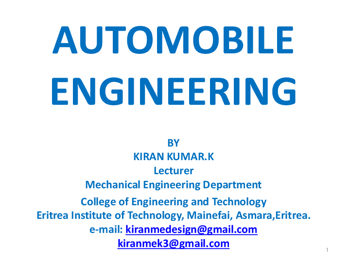 Pdf Automobile Engineering Lecture Notes 1 To Final Year Students By Kiranmedesign Gmail Com Kiran K U M A R Kudumula Academia Edu