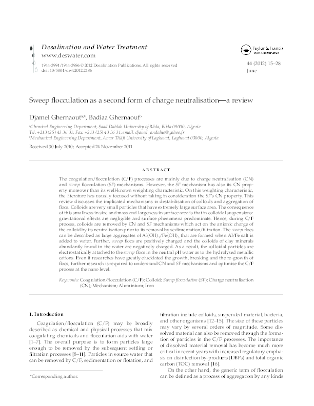 PDF) Sweep flocculation as a second form of charge