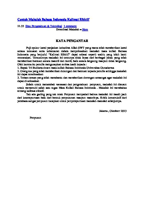 Doc Contoh Makalah Bahasa Indonesia Kalimat Efektif 21 33 Ilmu Pengetahuan Teknologi 1 Comment Download Makalah Here Arif Iba Academia Edu