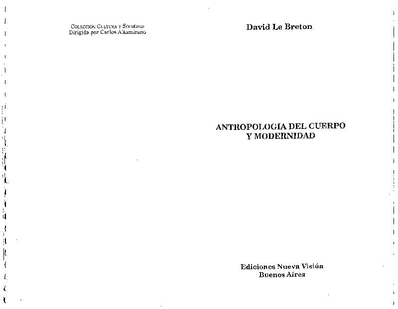 Pdf Antropología Del Cuerpo Y Modernidad David Le Breton